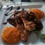 Pork brisket With an outstanding sweet sauce With figs etc. Delicious