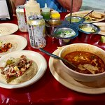 tacos and charro beans.