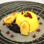 Passion Fruit Bavarois with Orange madeleines, pomegranate seeds