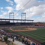Looking in at first base from out in right field at Salt River Fields.