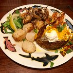 "The ""San Francisco:"" Grouper with grilled scallops & shrimp + loaded baked potato"
