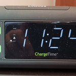 Alarm clock with USB charge ports.