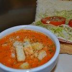 Tomato basil soup with a 1/2 Italian sub combo