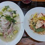 ceviche and lobster salad