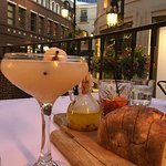 Outdoor seating with Lychee Martini