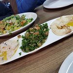 The Mezza Plate and the Fattoush salad