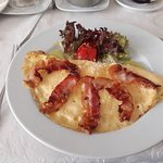 Ham and Cheese Omelet (bacon substituted for ham)