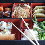 A tasty Vegetable Bento Box from the cafe in the Morikami Japanese Gardens.