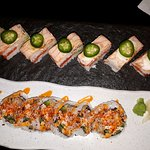 Salmon Pressed sushi And Dynamite Roll