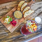 Duhka crusted chicken liver pate, with house pickles, char grilled bread and Sangria