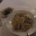 Baby Clam Scampi over Linguini with vegetable
