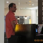 Hotel Manager David Rubio worked along side staff all day, stopping to complement the hostess.