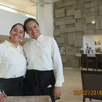 Paulina and Yvonne providing service with a smile and pleasant conversation in the lobby bar.