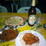 Garlic Chicken, Cheese and Onion Nan, Plain Rice and Beer Lao