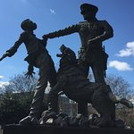 Statue depicting a student civil rights protestor being attacked