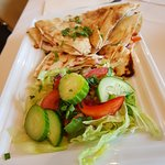 Lebanese Bread and salad accompanies Mezza Plate
