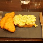 Custom scrambled eggs, focaccia and hash browns