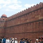 A massive redstone wall of the Fort