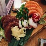Sashimi set: salmon, tuna and octopus