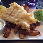 Beer battered line-caught cod and chips. Crispy batter and beautifully cooked fish. Yum.