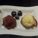 Peach ice-cream, cherry sorbet, brandy snap