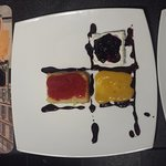 Mondrian (meringue, chocolate, fruit puree, sponge)