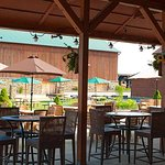 Beautiful patio with century barn in background