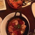 Sauteed Shrimp Al Ajillo and Papa Bravas-potatoes