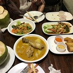 The food we ordered with the rather large fresh and cold coconut drinks