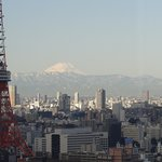View of the city and Mt Fuji from reception
