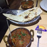 Chicken Kadai, nann bread and lamb Madras from the business lunch menu