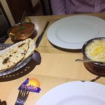 Nann bread, pilau rice and lamb Madras from the business lunch menu