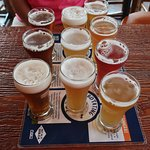 Our flight of beers.
