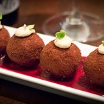 goat cheese and beet arancini