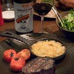 Steak with mac & cheese