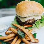 Beef burger with eggpalnt relish and sweet potato fries