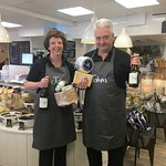 Ant & Sue with their favorite cheese & wine!