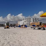 Beautiful Day on St Pete Beach. Looking at the clouds and hotels on the beach and people relaxin