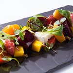 Roasted candy cane beets Humboldt Fog chevré cheese