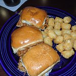 BB Pulled Pork Sliders with tater tots