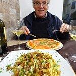 Salmon pizza and Fettucine pesce spada e melanzane ! Fabulous !