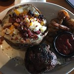 Filet with blackened shrimp, ribs, and Hershey brownie! Amazing food and service. Ask for Lizzy