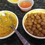 SPICY lentils and (mild) chickpeas, both good.