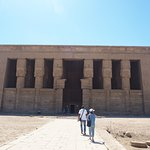 Mohamed and my Mother approaching the Temple of Hathor (Dendera)