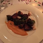 Pork Belly, not crisp, bay scallops, not necessary, a bit lost.