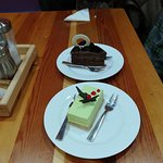 The amazing chocolate cake and lime cheese cake