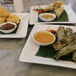 Delectable small plates - with a couple of lumpia already eaten!