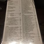 Menu, very long sorry about the picture