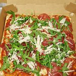 Bresaola, rocket and parses an shaves pizza!