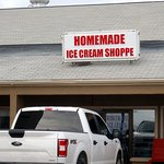front of & entrance to Homemade Ice Cream Shoppe